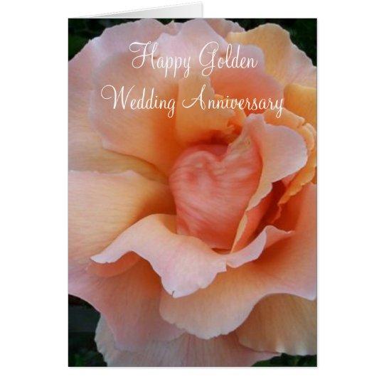 Peach Rose 50th Wedding Anniversary Card