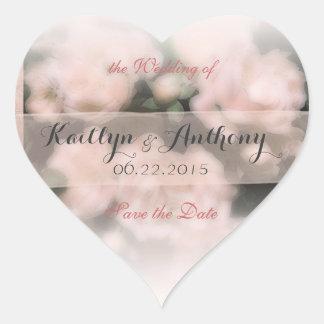 Peach Rose dream wedding save the date Heart Sticker