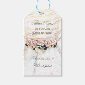 Peach rose floral wedding favor thank you tag