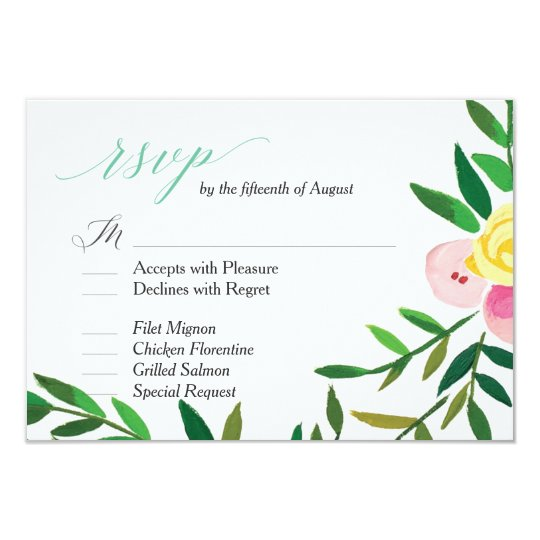 'Peach Rose Garden' Wedding RSVP Card