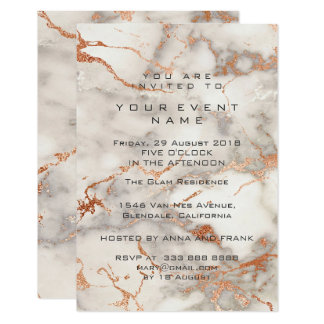 Peach Rose Gold Marble Stone Gray Event Luxury Card