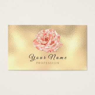 Peach Rose Metallic Lux Champagne Gold Glass Business Card