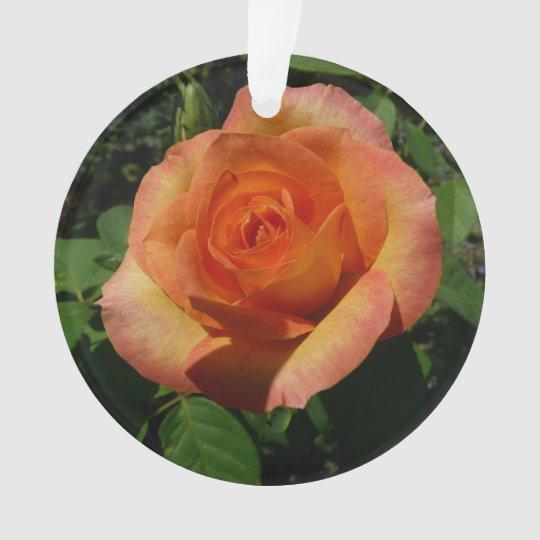 Peach Rose Orange Floral Ornament