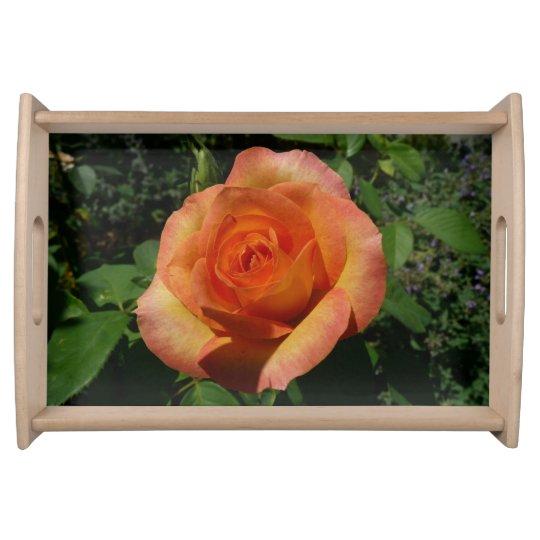 Peach Rose Orange Floral Serving Tray