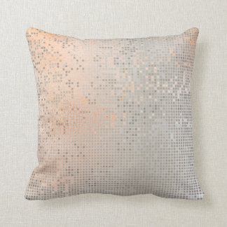 Peach Rose Pastel White Ombre Silver Cyber Numeric Throw Pillow