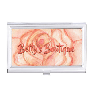 Peach Rose Personalized Business Card Holder