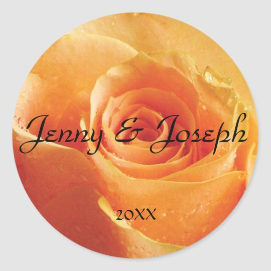 Peach Rose Personalized Round Wedding Sticker
