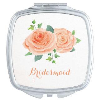 Peach Rose Pretty Watercolor Compact Mirrors