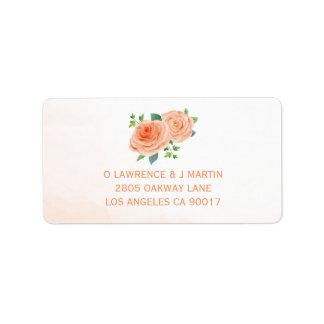 Peach Rose Watercolor Label
