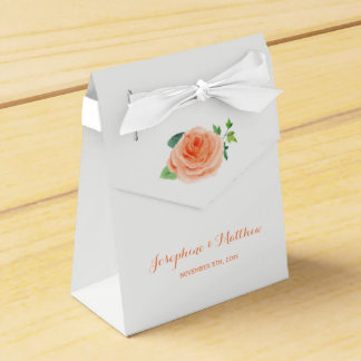 Peach Rose Wedding Favor Box