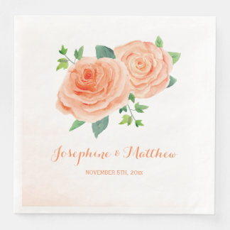 Peach Rose Wedding Paper Dinner Napkin