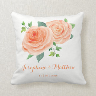 Peach Rose Wedding Throw Pillow