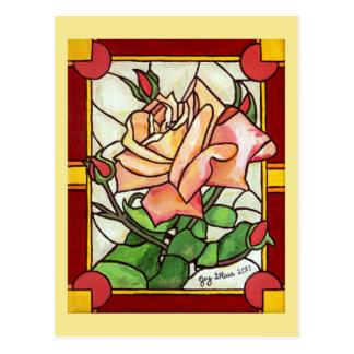 Peach Rose Window Postcard