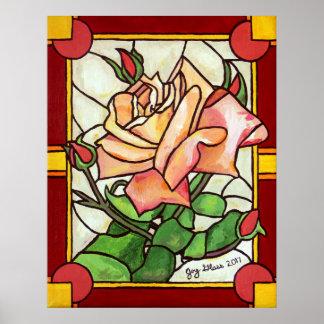 Peach Rose Window Poster