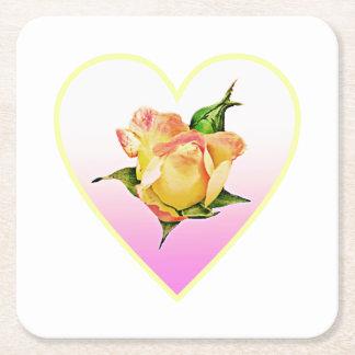 Peach rosebud in heart square paper coaster