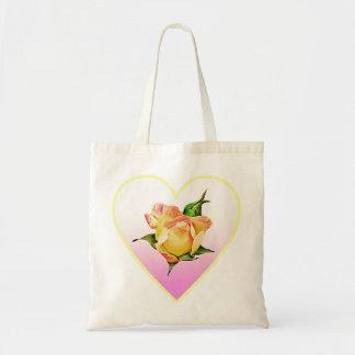 Peach rosebud in heart tote bag