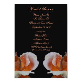 Peach Rosebuds Black Floral Bridal Shower Invite