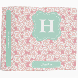 Peach Roses and Mint Monogram Vinyl Binder