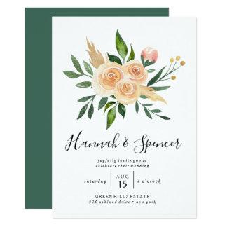 Peach Roses Bouquet Wedding Invitation