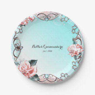 Peach Roses & Butterflies Sparkle Birthday Party 7 Inch Paper Plate