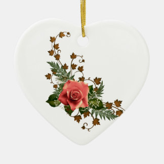 Peach Roses Ceramic Heart Ornament
