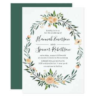 Peach Roses Frame Wedding Invitation