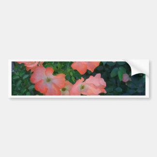 Peach Roses Girly Pretty Design Bumper Sticker