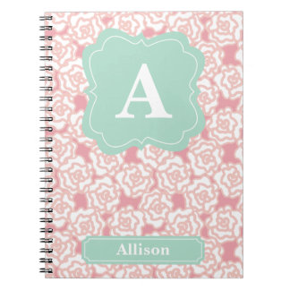 Peach Roses Mint Monogram Spiral Notebook