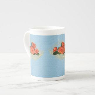 Peach Roses on Vintage Blue Bone China Mug