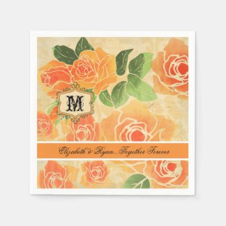 Peach Roses Personalized Wedding Paper  Napkins