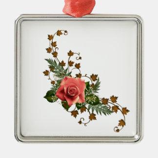 Peach Roses Silver-Colored Square Ornament