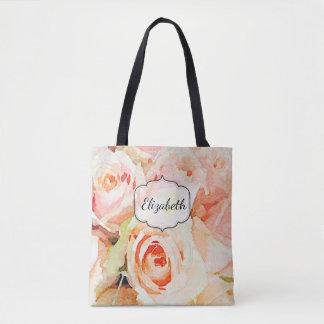 Peach Roses Watercolor Custom Tote Bag