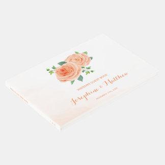Peach Roses Wedding Guest Book