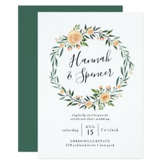 Peach Roses Wreath Wedding Invitation
