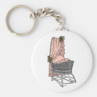 Peach Sage Baby Bassinet Keychain