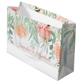 Peach Sage Green Watercolor Flowers LARGE Bags