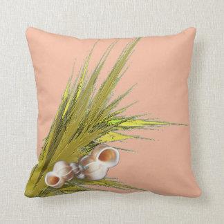 Peach Seashell Throw Pillow