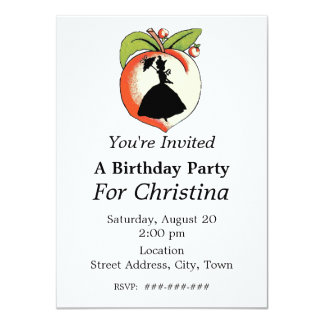 "Peach Silhouette Southern Bell Birthday 4.5"" X 6.25"" Invitation Card"