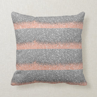 Peach Silver Gray Glitter Metallic Shiny Stripes Throw Pillow