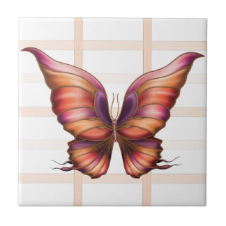 Peach Squared with Butterfly Tile