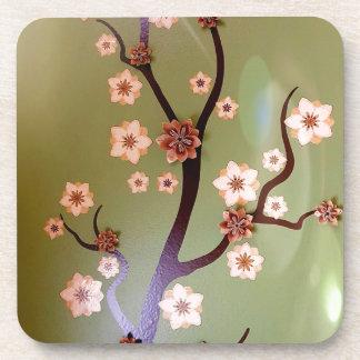 Peach stencil blossoms on twigs beverage coasters