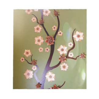 Peach stencil blossoms on twigs notepad