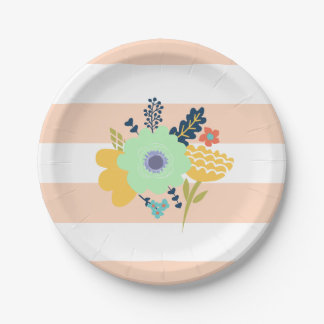Peach striped paper plate with flowers 7 inch paper plate
