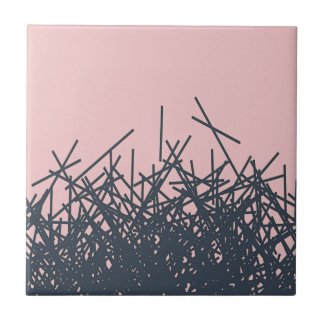 Peach Stylish Trendy Dark Modern Abstract Line Art Tile