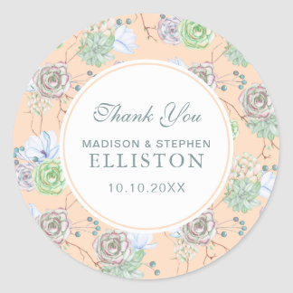 Peach Succulents Floral Watercolor   Thank You Classic Round Sticker