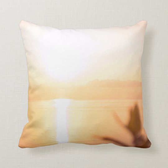 peach sunrise. natural  collection. throw pillow