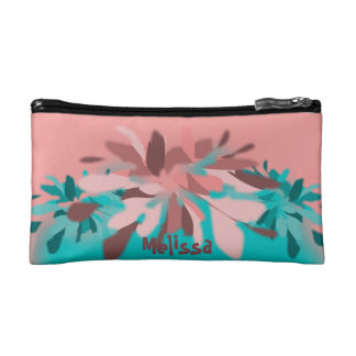 Peach Teal Floral Personalized Cosmetic Bag