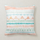 Peach Teal Mint Watercolor Tribal Pillow