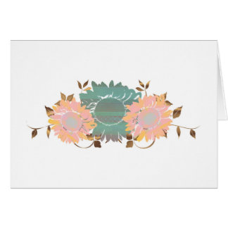 Peach Teal Pastel and Copper Sunflower Vine Card