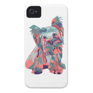 Peach & Teal Yorkie iPhone 4 Case-Mate Cases